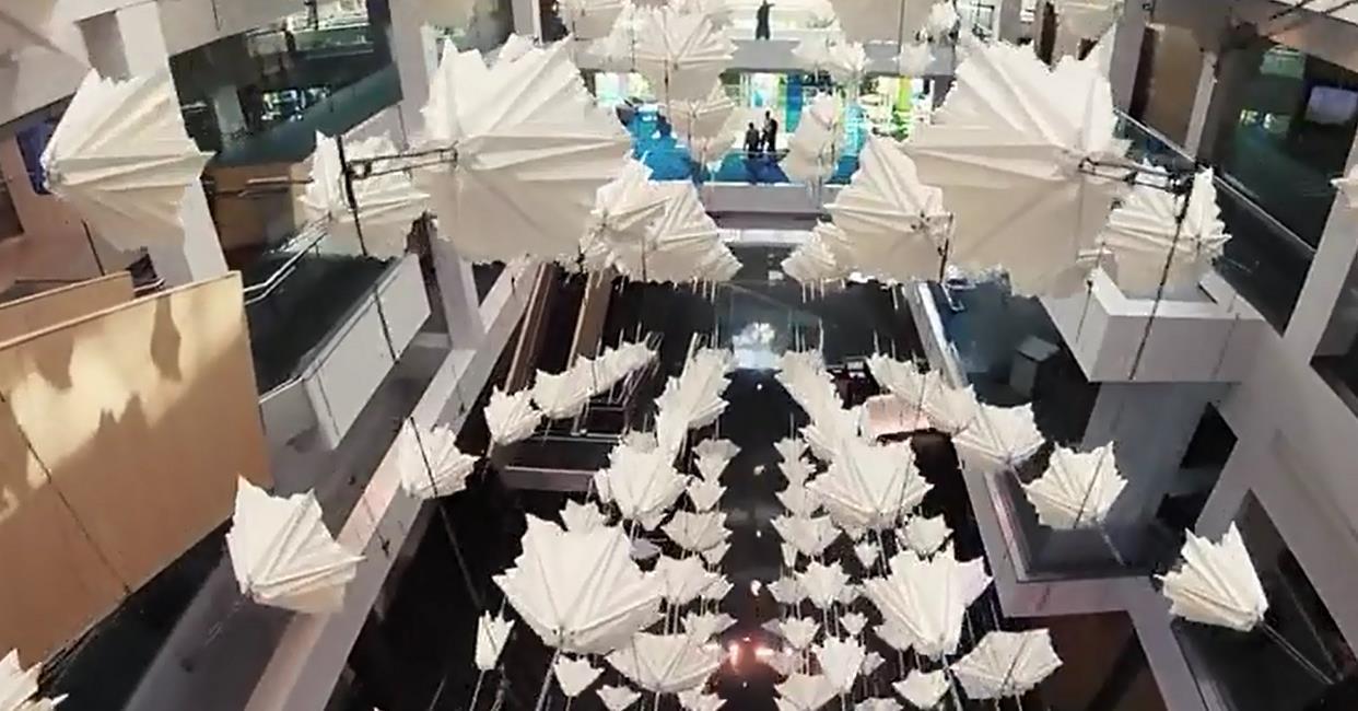 一体化步进电机浮球矩阵应用:雨伞