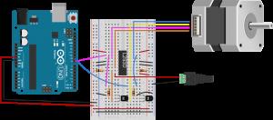 图10.双极步进电机与H桥和Arduino 2线结构连接的实验板图
