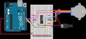 图4.单极电机与H桥和Arduino相连的横向视图