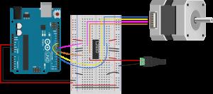 图6.连接到H桥和Arduino的双极步进电机的实验板