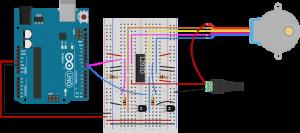 图8.连接到Arduino的L293D H桥的实验板视图,用于驱动步进电机,2线